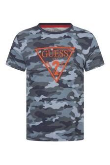 Boys Blue Camouflage Cotton Logo T-Shirt
