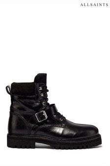 AllSaints黑色Paulina中筒小牛皮靴