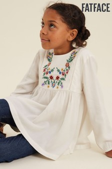 Fatface Natural Harriet Woven Bib Blouse