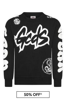 GCDS Mini Boys Black Cotton Sweat Top