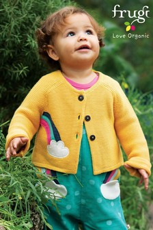 Frugi Organic Knitted Cardigan With Rainbow Appliqué