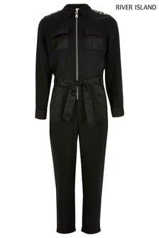 River Island Black Embellished Shoulder Utility Jumpsuit