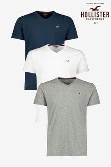 Hollister White/Grey/Navy V-Neck T-Shirts Three Pack