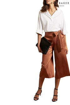 Ted Baker Brown Satin Culottes
