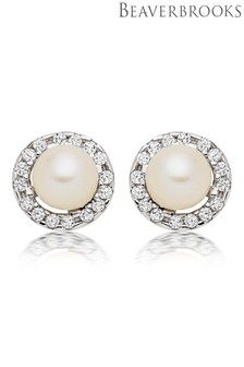 Beaverbrooks 9ct White Gold Pearl Cubic Zirconia Stud Earrings