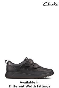 Clarks Black Leather Scape Flare K Shoes