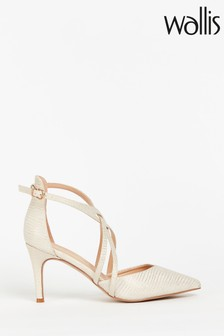 Wallis Winterberry Natural Cross Strap Pointed Shoes