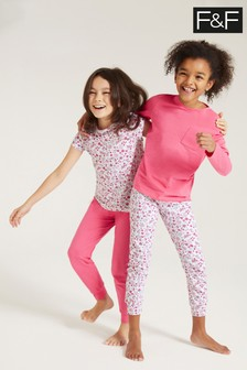 F&F Pink Floral Pyjamas Two Pack