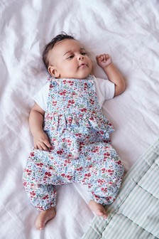 Floral Dunagrees And Bodysuit Set (0mths-2yrs)