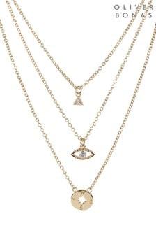 Oliver Bonas Gold Tone Explorer Multi Charm Layered Necklace