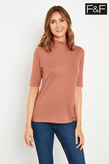 F&F Pink Roll Neck Top
