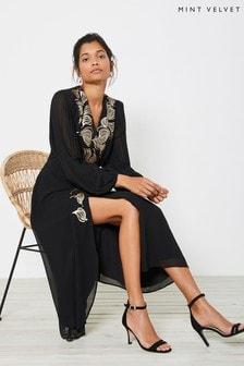 Mint Velvet Black Pleat Sleeve Midi Dress