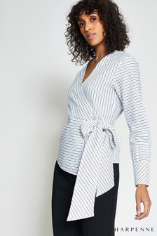 Harpenne White Stripe Wrap Top