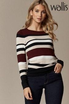 Wallis Petite Berry Stripe Knitted Jumper