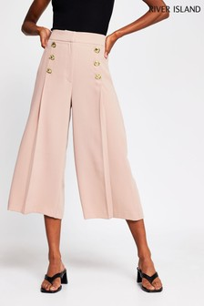 River Island Beige Dark Button Front Culottes