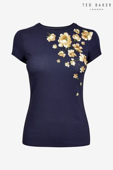 Ted Baker Blue Vyola Pearl Printed Fitted T-Shirt