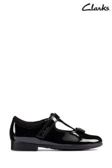 Clarks Black Patent Scala Hope Kids Shoes