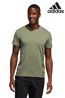 adidas Green Aero Adapt 3 Stripe T-Shirt