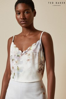 Ted Baker White Ivvey Vanilla Printed Scalloped Camisole