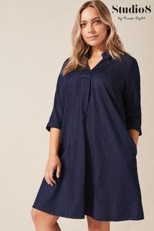 Studio 8 Blue Celia Shirt Swing Dress