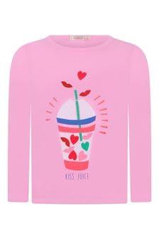 Girls Pink Cotton Jersey Long Sleeve T-Shirt