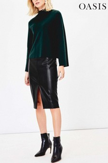 Oasis Black Faux Leather Skirt