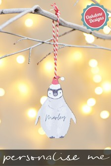 Personalised Penguin Hanging Decoration by Oakdene Designs