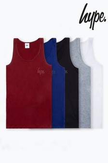 Hype. Multi-Colour Five Pack Kids Vest Tops