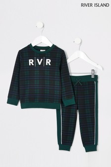 River Island Navy Check With White Graphic Set