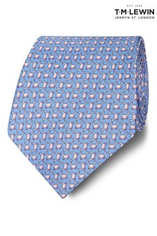 T.M. Lewin Made In Italy Wide Blue And Pink Crab Silk Tie