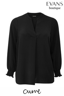 Evans Curve Black V Neck Shirt