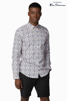 Ben Sherman® Blue Long Sleeve Multicolour Floral Shirt