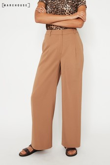 Warehouse Camel Wide Leg Trousers