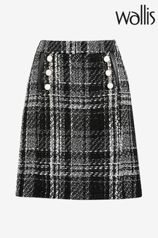 Wallis Mono Check Button Aline Skirt