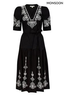 Monsoon Black Enya Embroidered Dress