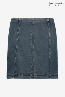 Free People Dark Wash Denim Skirt