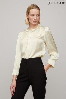 Jigsaw Ruffle Neck Silk Shirt