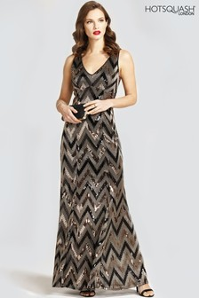 HotSquash V-Neck Sequin Maxi Dress