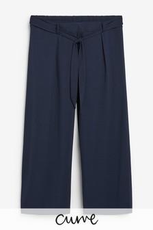Evans Curve Navy Jersey Wide Leg Crop Trousers