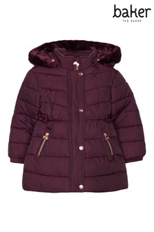 baker by Ted Baker Wine Padded Longline Coat