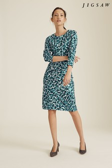 Jigsaw Blue Cascading Petals Jersey Dress