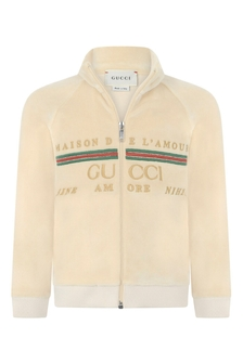 GUCCI Kids Baby Beige Chenille Embroidered Logo Zip Up Top