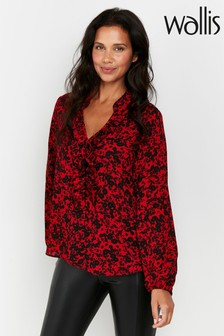 Wallis Red Floral Print Frill Neck Top