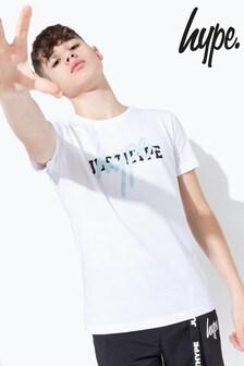 Hype. White Basic Double Hype Logo Print T-Shirt