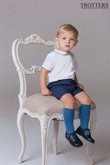 Trotters London Blue Rupert Shirt And Shorts Set