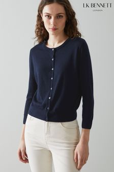L.K.Bennett Blue Bonnie Merino Wool Cardigan