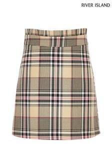 River Island Beige Orange Check A-Line Skirt