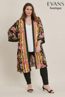 Evans Curve Black Floral Print Kimono