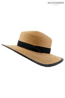 Accessorize Natural Preppy Boater Hat