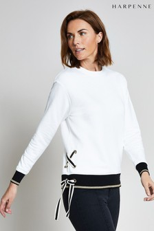 Harpenne Cream Eyelet & Ribbon Detail Sweatshirt